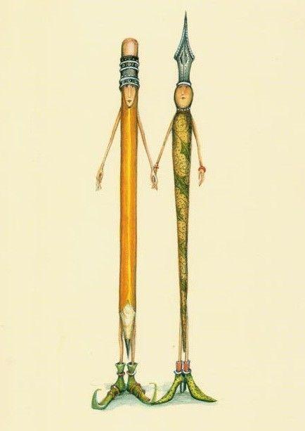 Porte plume et crayon main dans la main